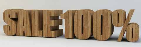 3d text, sale 100 percent. 3d render, 3d text, with the phrase sale 100 percent, voluminous letters wooden on a light background stock illustration