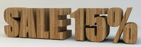 3d text, sale 15 percent. 3d render, 3d text, with the phrase sale 15 percent, voluminous letters wooden on a light background Stock Images