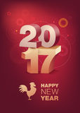3D Text 2017 with shadow on shiny red background. Chinese New Year celebration. Year of the Rooster. Vertical format. 3D Text 2017 with shadow on shiny red Stock Photography
