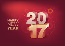 3D Text 2017 with shadow on shiny red background. Happy New Year celebration. 3D Text 2017 with shadow on shiny red background. Happy New Year celebration stock illustration