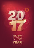 3D Text 2017 with shadow on shiny red background. Happy New Year celebration. Vertical format. 3D Text 2017 with shadow on shiny red background. Happy New Year Stock Photography