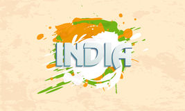 3D text with splash for Republic Day celebration. 3D text India on national tricolor splash for Indian Republic Day celebration on grungy background Stock Image