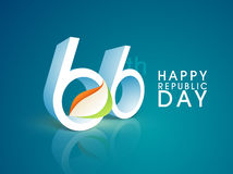 3D text for 66th Indian Republic Day celebration. Stock Photos