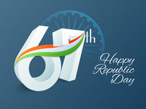 3D text 67th for Indian Republic Day celebration. 3D text 67th with National Flag colours waves on Ashoka Wheel decorated background for Happy Indian Republic Stock Photo