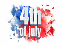 3D text for 4th of July celebration. Glossy 3D text 4th of July on American Flag colors background for Independence Day celebration concept Royalty Free Stock Photos