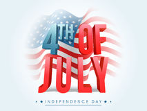 3D text for 4th of July celebration. Glossy 3D text 4th of July on waving American Flag background for Independence Day celebration stock illustration