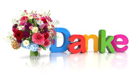 3d text - thank you - flowers Stock Images