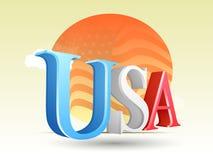 3D Text USA in den Farben der amerikanischen Flagge Lizenzfreie Stockfotos
