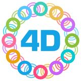 4D Colorful Rings Circular. 4D text written over colorful background Royalty Free Stock Photo