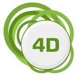 4D Random Green Rings. 4D text written over green background Royalty Free Stock Photography