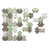 3 D textile puzzles group. On isolated background Royalty Free Stock Photo