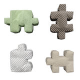 3D textile puzzles. On isolated background Royalty Free Stock Photo
