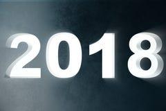 3D texto da ilustração 2018 na parede com raios claros do volume números 3d Texto do ano novo feliz 2018 Fotos de Stock