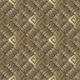 3d textured greek vector seamless pattern. Abstract gold greek key meanderbackground. Geometric ornament. Rhombus, squares, zigzag, geometry shapes, elements vector illustration