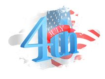 3D 4th July Text Design. 3D 4th July Text Design on abstract American Flag colors background Royalty Free Illustration