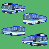 3d thai bus blue sky yellow white transport car vehicle driver fare passenger autobus omnibus coach rail bench chair stool armchai. R stock illustration