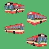 3d thai bus red green white transport car vehicle driver fare passenger autobus omnibus coach rail bench chair stool armchair seat. Mattress bolster vector illustration