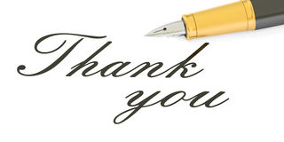 3D Thank you text and fountain pen Royalty Free Stock Image