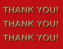 3D thank you! thank you! thank you! sign. 3 x's thank you sign in gold and red vector illustration
