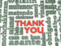 3d Thank You Word Cloud background, all languages Royalty Free Stock Photos