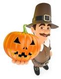 3D Thanksgiving man with a big pumpkin Stock Photos
