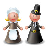 3d Thanksgiving pilgrim characters Stock Photography