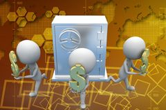 3d theft robbing dollars from locker illustration Royalty Free Stock Photo