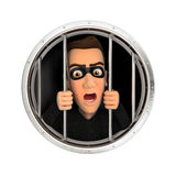 3d thief behind bars. Illustration with isolated white background Royalty Free Stock Photos