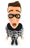 3d thief chained. Illustration with isolated white background Royalty Free Stock Images