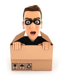 3d thief hiding inside a cardboard box Royalty Free Stock Photo