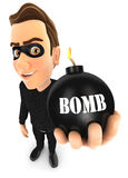 3d thief holding a bomb. Illustration with isolated white background Royalty Free Stock Photos