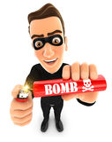 3d thief lighting a stick of dynamite. Illustration with isolated white background Stock Photos