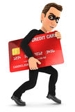 3d thief with a stolen credit card Royalty Free Stock Image