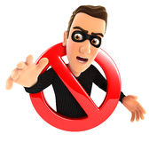 3d thief surrounded by a forbidden sign Royalty Free Stock Photo
