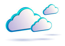 3D Thin Modern Clouds. Three floating 3D modern cloud vectors Royalty Free Stock Photos