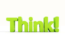 3d Think. Think icon on a white background. 3D illustration Stock Photo