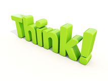 3d Think. Think icon on a white background. 3D illustration Royalty Free Stock Photography
