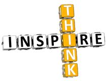 3D Think Inspire Crossword. Over white background Royalty Free Stock Photography