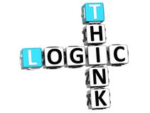 3D Think Logic Crossword. On white background Royalty Free Stock Photo