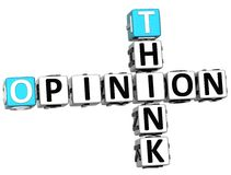 3D Think Opinion Crossword. On white background Royalty Free Stock Image
