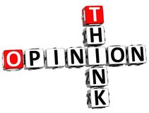 3D Think Opinion Crossword. On white background Royalty Free Stock Photography