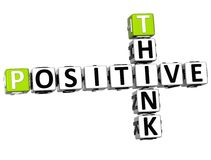 3D Think Positive Crossword. On white background Stock Photos