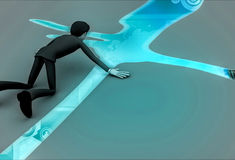 3d thirsty character finding water illustration Stock Photo