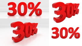 3D thirty percent Stock Photos