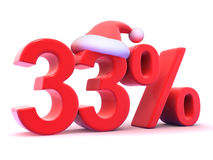 3d Thirty three percent symbol wearing Santa Claus hat Stock Image