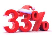 3d Thirty three percent symbol wearing Santa Claus hat Stock Image