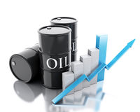 3d Three barrels of oil. Business concept. Stock Photography