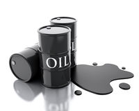 3d Three barrels of oil spilled. Stock Photo