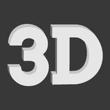 3D three-dimensional button sign in solid grayscale Royalty Free Stock Photography