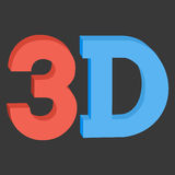 3D three-dimensional button sign in solid red and blue colors Stock Photo